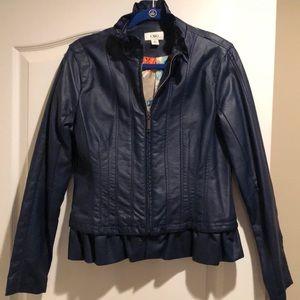 Navy faux leather peplum jacket